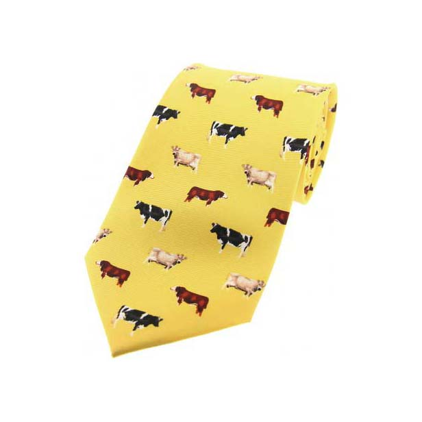 Cow Breeds On Yellow Country Silk Tie