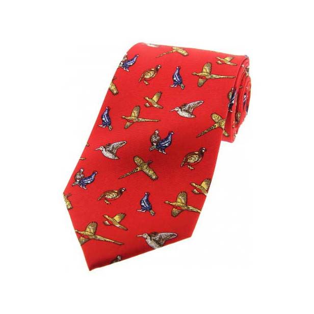 Country Birds On Red Country Silk Tie