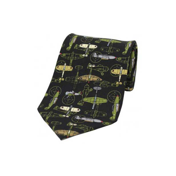 War Plane On Black Silk Tie