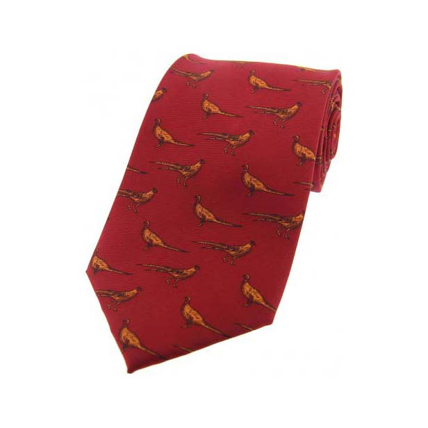 Standing Pheasants On Red Country Silk Tie