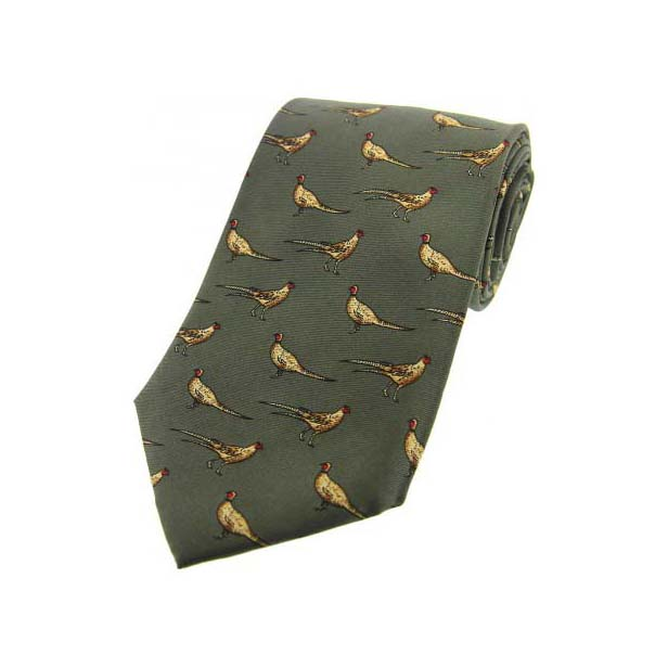 Standing Pheasants On Green Country Silk Tie