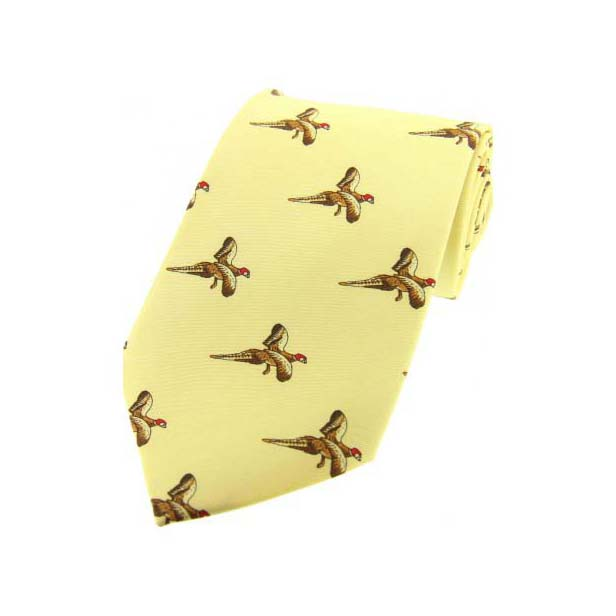 Flying Pheasants On Pastel Yellow Country Silk Tie