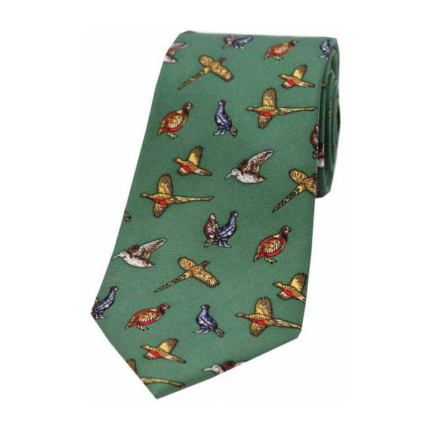 Country Birds On Forest Green Country Silk Tie