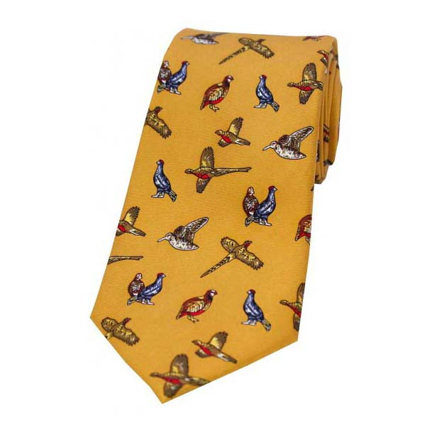 Country Birds On Mustard Country Silk Tie