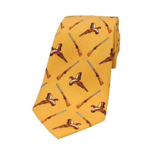 Flying Pheasant and Shotgun on Mustard Country Silk Tie