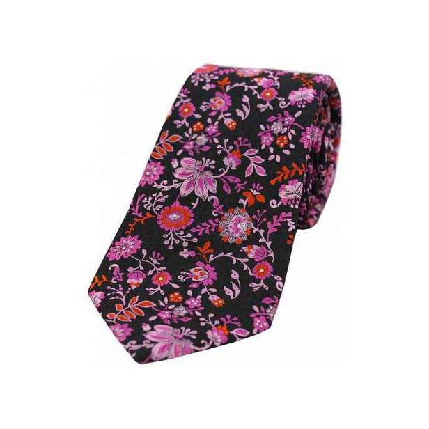 Black, Pink, Lilac Floral Patterned Luxury Silk Tie