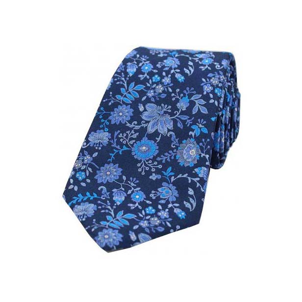 Blue and Aqua Floral Patterned Luxury Silk Tie