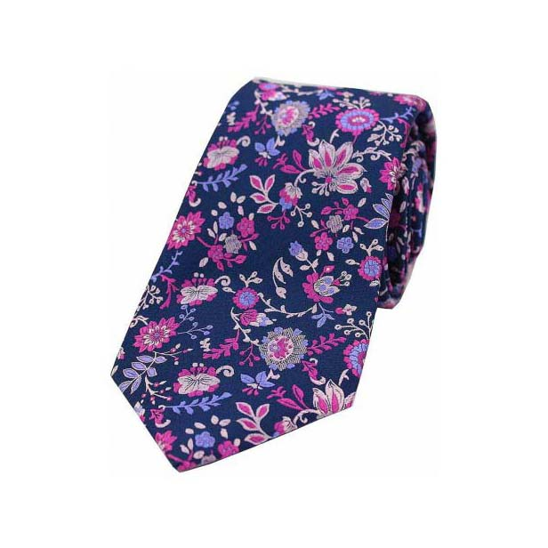 Blue and Purple Floral Patterned Luxury Silk Tie