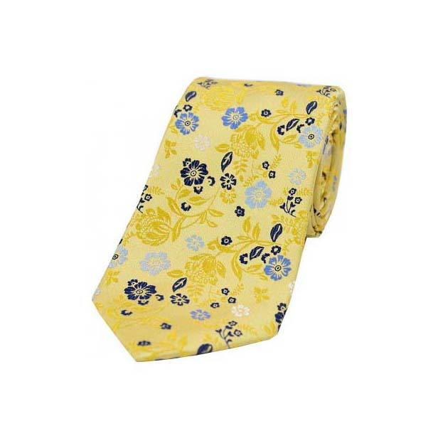 Bright Gold Flower Design Luxury Silk Tie