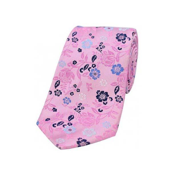 Pink Multi Coloured Flower Design Luxury Silk Tie