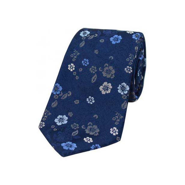 Navy Multi Coloured Flower Design Luxury Silk Tie