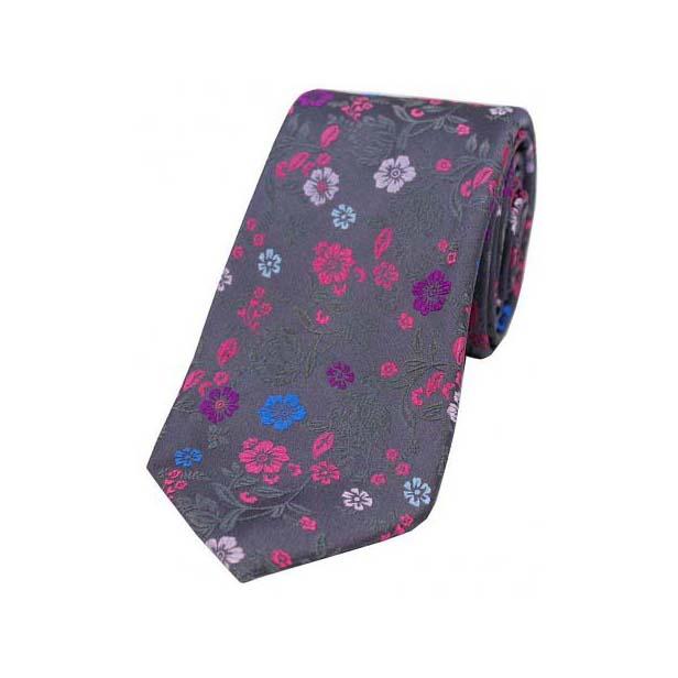 Grey Multi coloured Flower Design Luxury Silk Tie