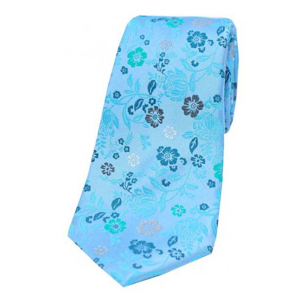 Light Blue Multi Coloured Flower Design Luxury Silk Tie