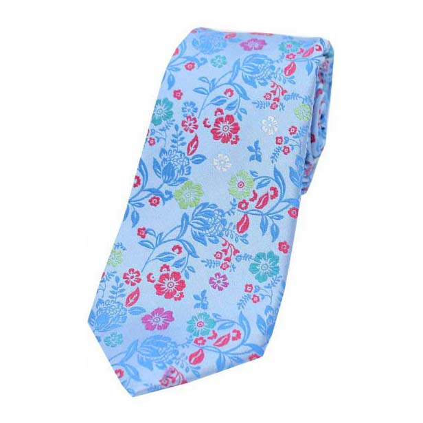 Bright Sky Blue Flower Design Luxury Silk Tie