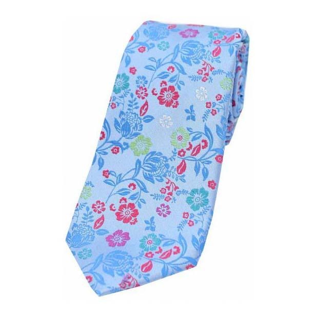 Bright Sky Blue Flower Design Luxury Silk Tie