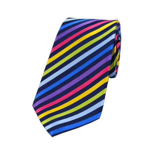 Bold Multi Coloured Thin Diagonally Striped Silk Tie