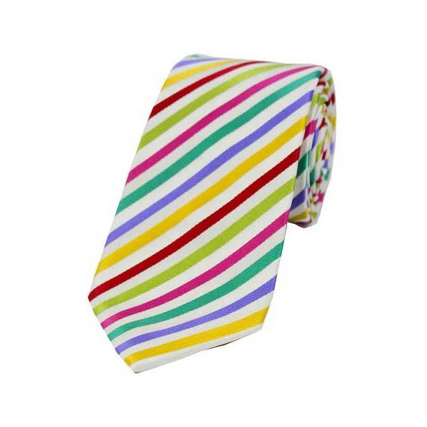 Light Multi Coloured Thin Diagonally Striped Silk Tie