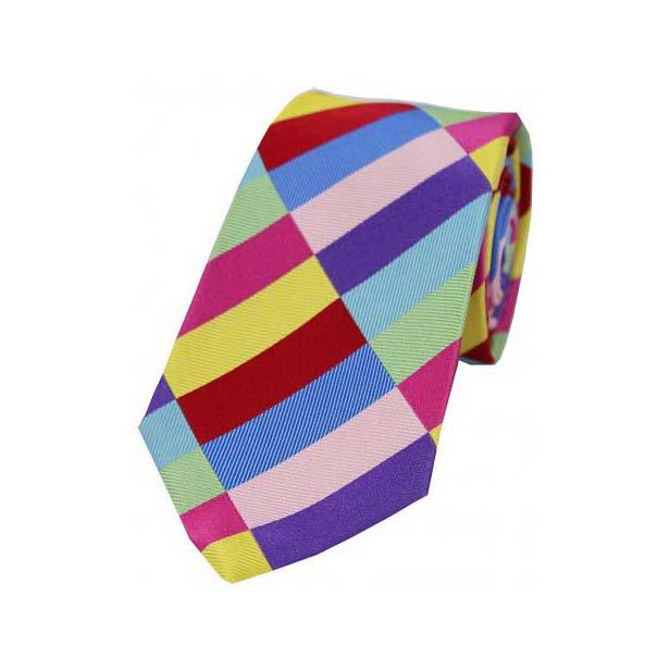 Bold Multi Coloured Diagonal Rectangle Pattern Silk Tie