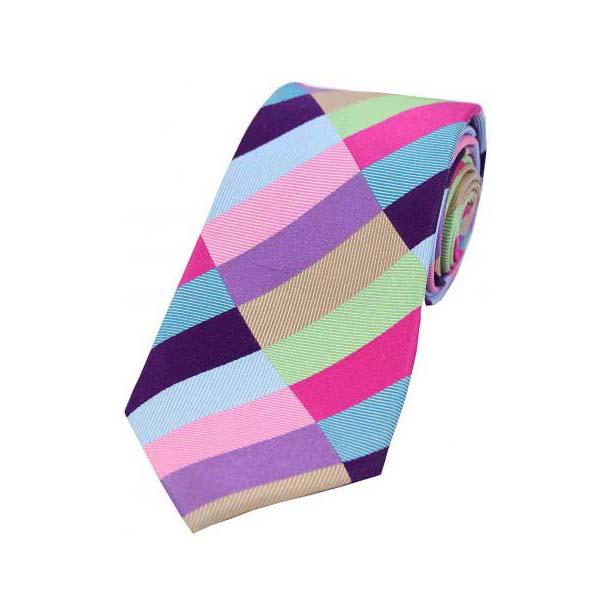 Light Multi Coloured Diagonal Rectangle Pattern Silk Tie