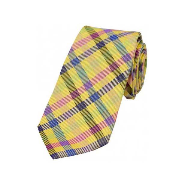 Multi Coloured Checks on Gold Silk Tie