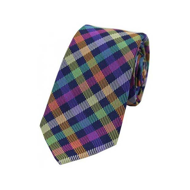 Multi Coloured Checks on a Navy Silk Tie