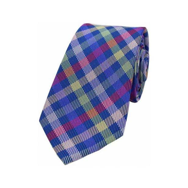 Multi Coloured Checks on Blue Silk Tie
