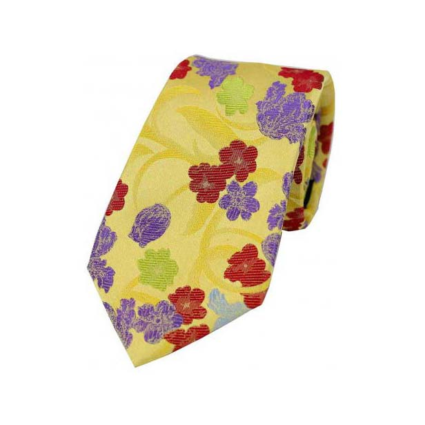 Multi Coloured Flowers on Gold Silk Tie