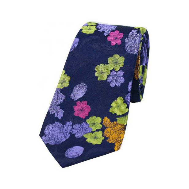 Multi Coloured Flowers on Navy Blue Silk Tie