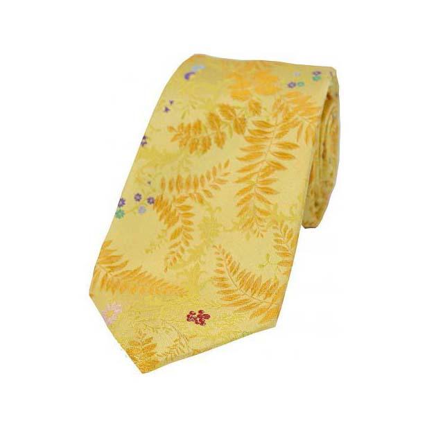 Yellow Floral Leaf Pattern Silk Tie