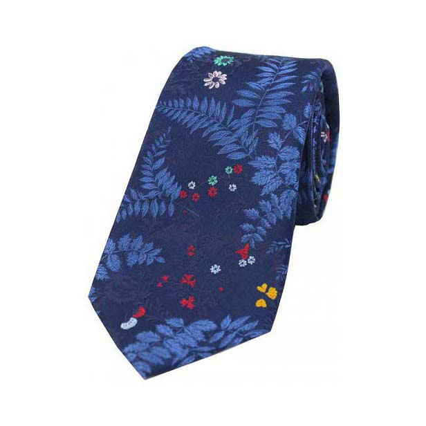 Blue Floral Leaf Pattern Silk Tie