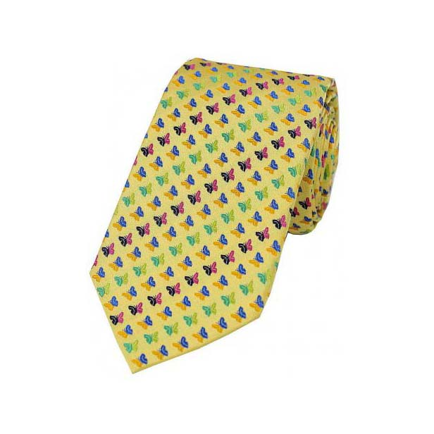 Multi Coloured Butterflies on Gold Silk Tie
