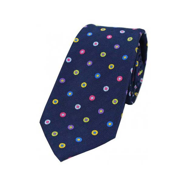 Multi Coloured Circle Pattern on a Navy Silk Tie