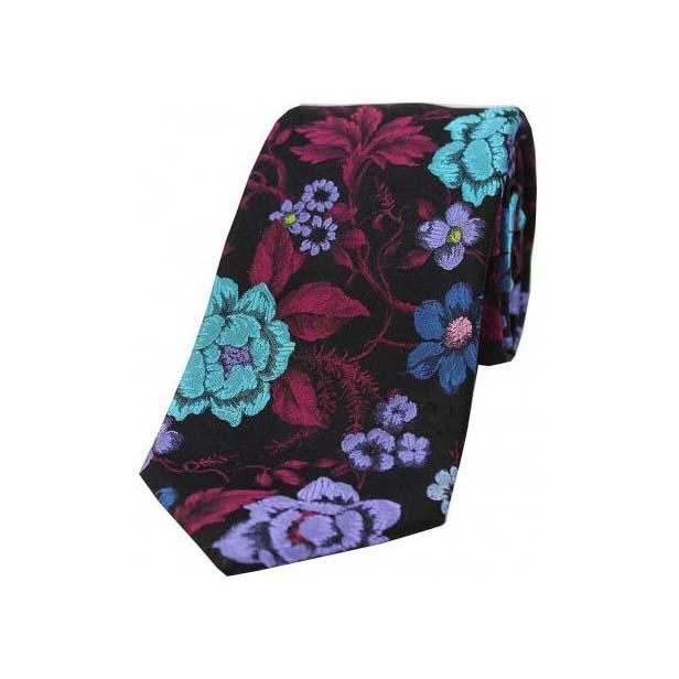 Multi Coloured Flowers on Black Base Luxury Silk Tie