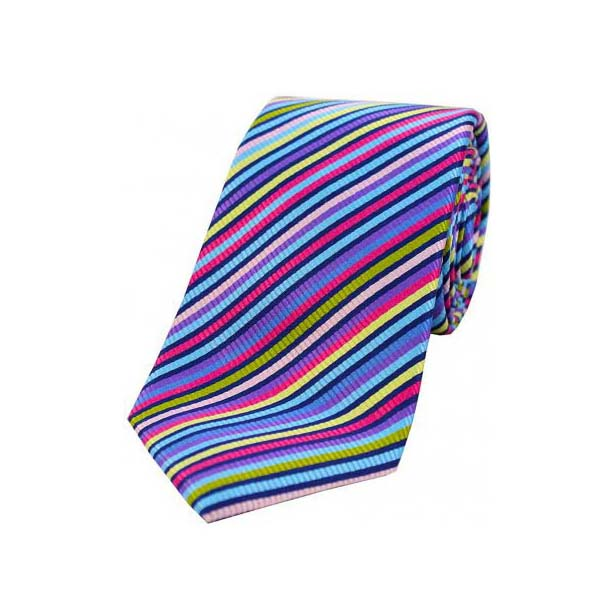 Bright Multi Coloured Thin Diagonally Striped Luxury Silk Tie