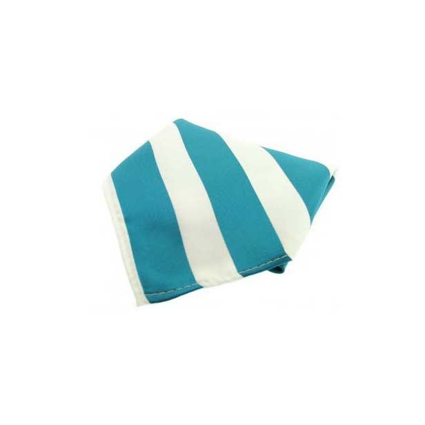 Teal and White Striped Polyester Pocket Square