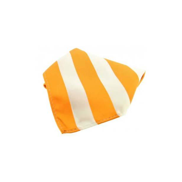 Orange and White Striped Polyester Pocket Square