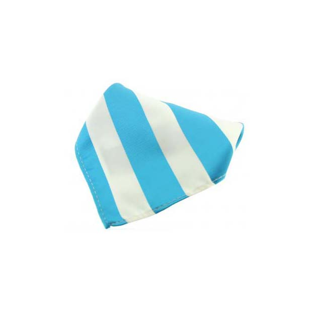 Cyan and White Striped Polyester Pocket Square