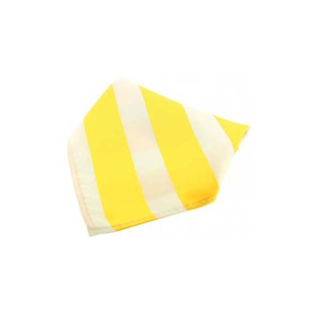 Yellow and White Striped Polyester Pocket Square