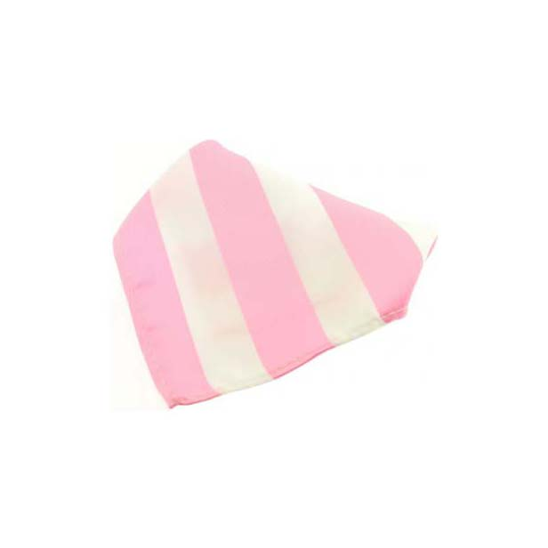 Pink and White Striped Polyester Pocket Square