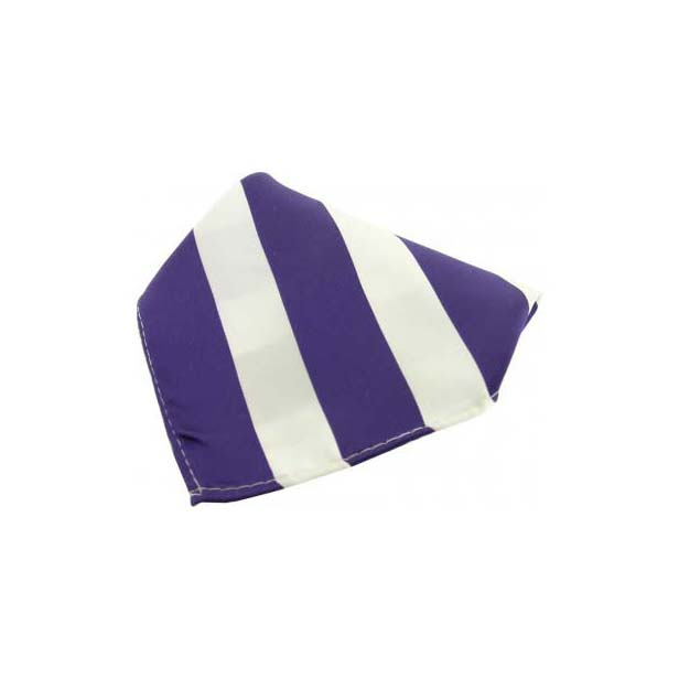 Purple and White Striped Polyester Pocket Square