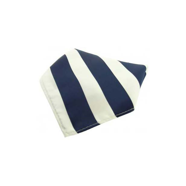 Navy and White Striped Polyester Pocket Square