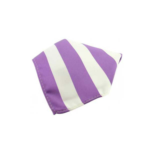 Lilac and White Striped Polyester Pocket Square