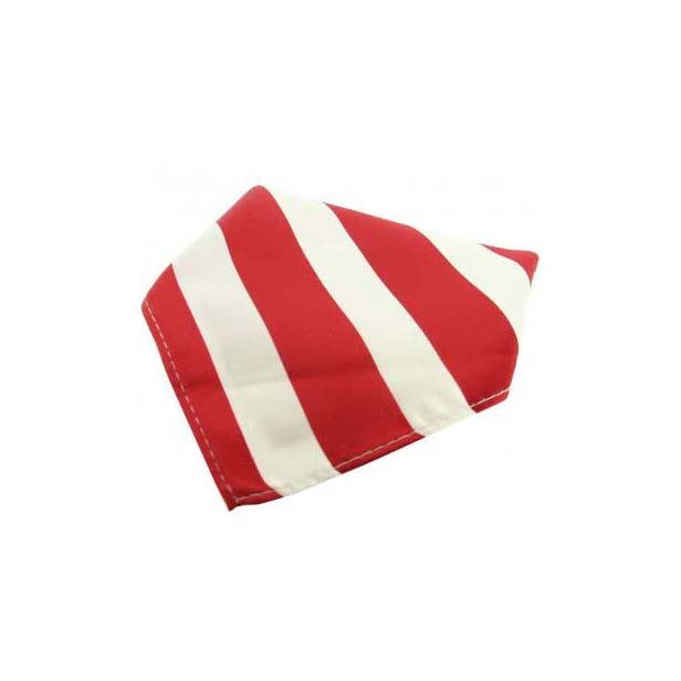 Red and White Striped Polyester Pocket Square