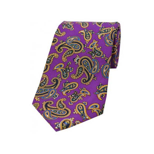 Vintage Large Paisley Print on Purple Silk Tie