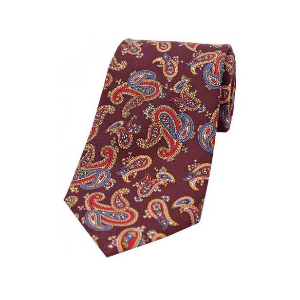 Vintage Large Paisley Print on Wine Silk Tie
