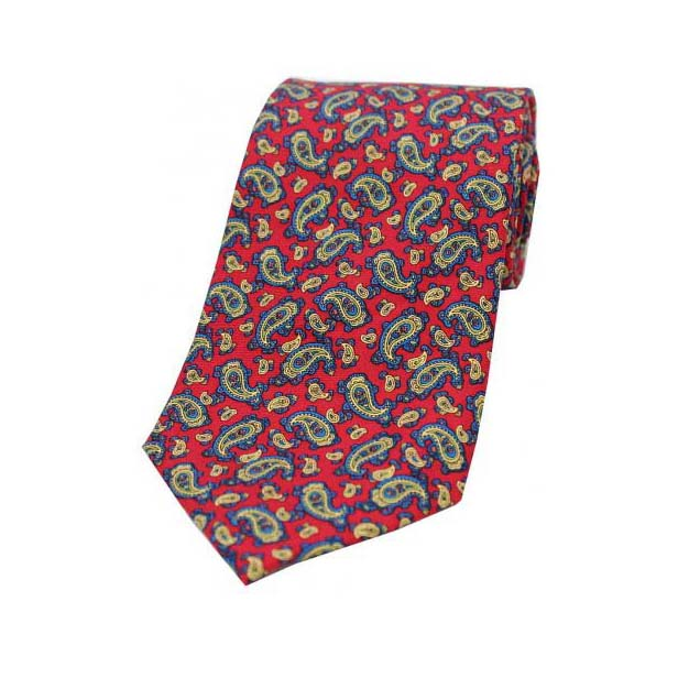 Vintage Small Paisley Print on Red Silk Tie