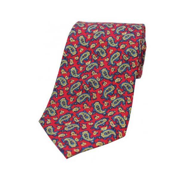 Vintage Small Paisley Print on Red Silk Tie