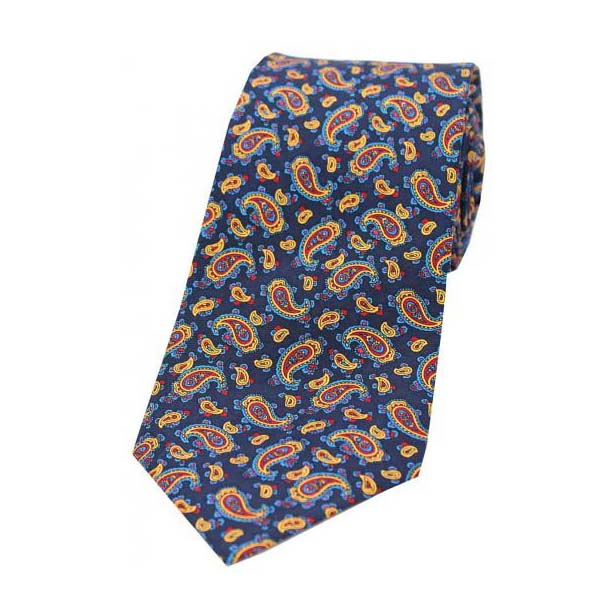 Vintage Small Paisley Print on a Navy Silk Tie