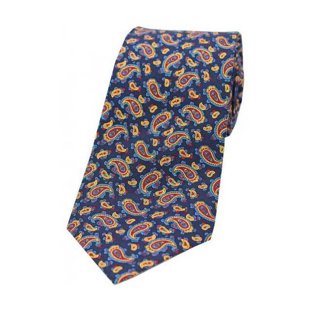 Vintage Small Paisley Print on a Navy Silk Tie
