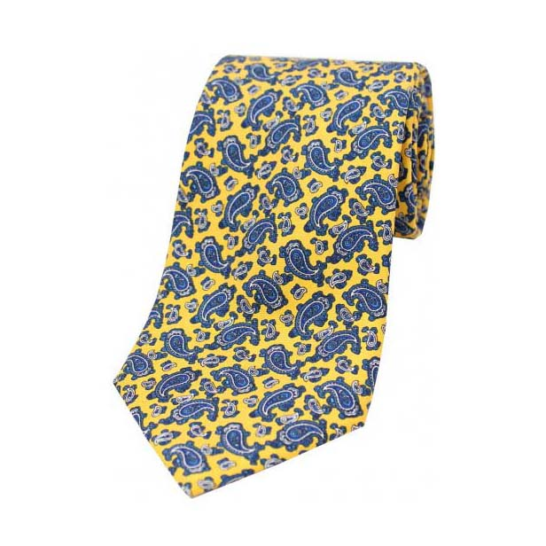 Vintage Small Paisley Print on Yellow Silk Tie